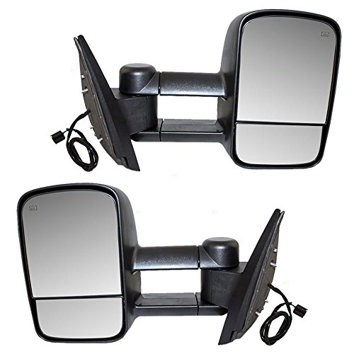 Driver and Passengers Power Tow Telescopic Mirrors Heated Non-OEM Replacement for Cadillac Chevrolet GMC Pickup Truck SUV 20862098 20862099 (2007 Chevy Silverado Tow Mirrors compare prices)
