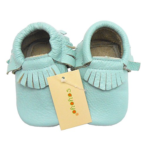 Sayoyo Baby Blue Tassels Soft Sole Leather Infant Toddler Prewalker Shoes (0-6 months, Blue)