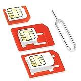 Wicked Chili 4 in 1 Sim Karten Adapter Set (Nano, Micro, Standard, Eject Pin) für Handy, Smartphone...