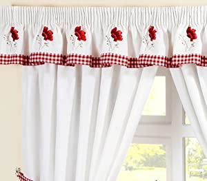 """POPPY GINGHAM EMBROIDERED RED PELMET TO MATCH KITCHEN CURTAINS L136"""" X W10"""""""