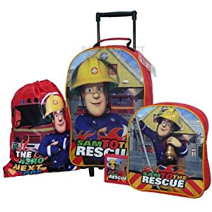 Trade Mark Collections Fireman Sam Travel Set includes Wheeled Bag/ Backpack/ Trainer Bag/ Wallet by Trade Mark Collections