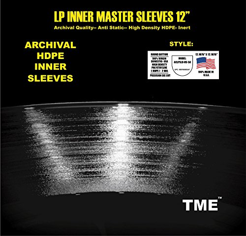 Round-Bottom-USA-Made-12-Inch-LP-Record-Inner-Master-Sleeves-Precision-Die-Cut-Anti-Static-100-Virgin-HDPE-by-TME-50-Pack-for-Up-To-200-Gram-Heavyweight-Vinyl-ACLPSLR-US-50