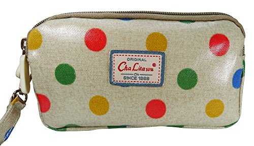 bdj-multi-function-printed-oil-coat-fabric-bag-wristlet-purse-wallet-pouch-polka-dot