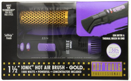 Hot Tools HT1074 Anti-Static Ionic Hot Air Brush with Ion Technology, 1000 Watts, 1 1/2 Inches