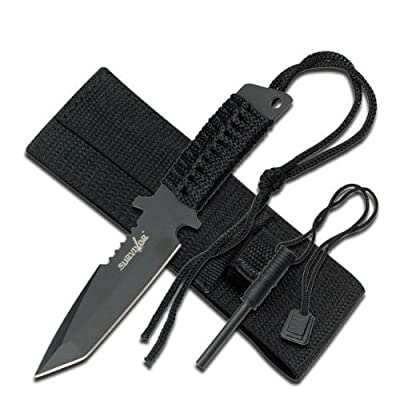 Survivor HK-760 Fixed Blade Knife, Black Tanto Blade, Black Cord-Wrapped Handle, 7-Inch Overall by Master Cutlery Inc.