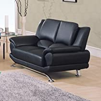 Big Sale Bonded Leather Loveseat w Chrome Base