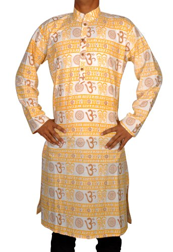 Indian Casual Wear Cotton Long Kurta with Standing Collar Neckline Size-L