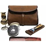 GBS Men's Deluxe Travel Doppler Grooming Beard and Wet Shaving Set - Horn Edition - Pure Badger Shaving Brush, Stand, Fusion Razor with Case, Travel Soap + Leather Brown Toiletry Bag