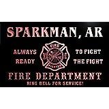 qy51124-r FIRE DEPT SPARKMAN, AR ARKANSAS Firefighter Neon Sign Barlicht Neonlicht Lichtwerbung