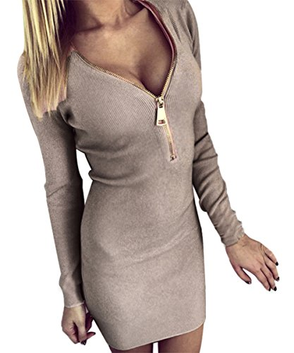 ISASSY Women's Deep V-neck Zipper Knitting Bodycon Mini Sweater Dress Shirt Tops