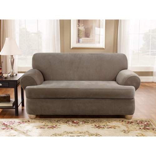 Sure Fit Stretch Pique 3 Piece T Loveseat Slipcover Taupe