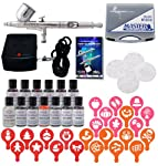 MASTER Airbrush CAKE DECORATING SYSTEM, Precision Dual-Action Gravity Feed Airbrush Set with Mini Air Compressor Plus 12 Americolor AmeriMist Airbrush Food Colors and 4 sets of seasonal Airbrush Stencils and Birthday Stencils with FREE Storage Case-The Co