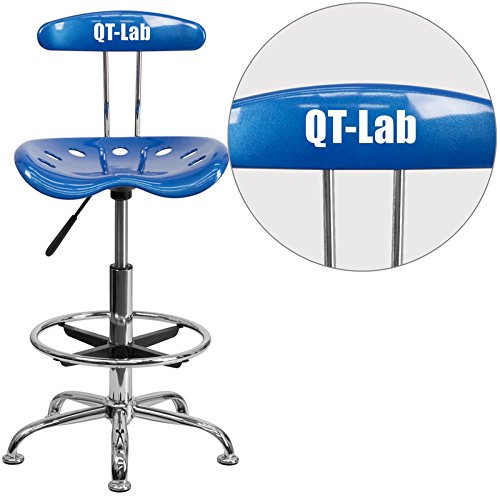 """Personalized Vibrant Bright And Drafting Stool With Tractor Seat Blue/Chrome/20""""L x 17.25""""W x 41""""H"""