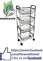 Parasnath square vegetable and fruit trolley , 4 stand , 30 inch