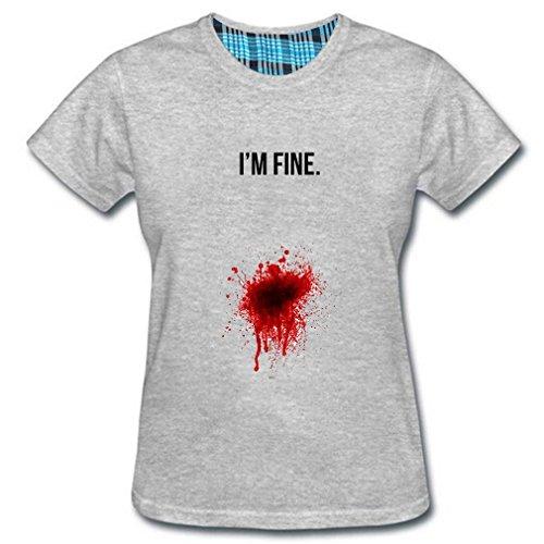 Dragon-Park Women's I'm Fine Bloody T-shirts (L Gray)