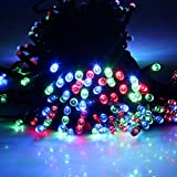 Multi-Colour 65ft 20m 200 LED Solar Powered Fairy String Light ; String Lights for Outdoor Gardens Homes Christmas Partys Weddings Easter Festivals ; Party Decoration Waterproof Solar Lights (200 LED, Multi-color)