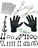16G and 14G Body Piercing Kit 36 Pieces with Belly Rings Dangle-Tongue,Tragus,Ear,Eyebrow,Nipple,Lip,Nose