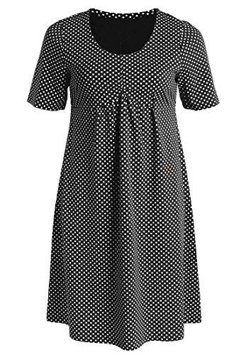 Ellos Women'S Plus Size Polka Dot A-Line Knit Dress With Short Sleeves (Black