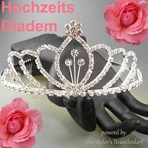 Diadem Tiara Haarschmuck Hochzeit Brautschmuck Luxus Haarreif Strass fester Sitz