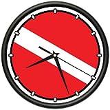 SCUBA DIVING FLAG ~Wall Clock diver dive fins mask tusa