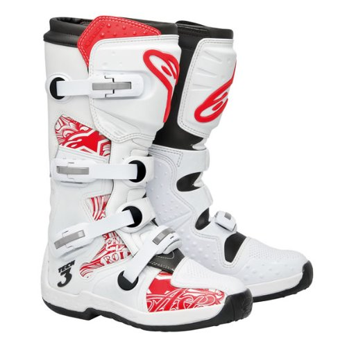 Alpinestars-Tech-3-Chrome-Boots-White-Red-Motocross-Size-5-3410-0877