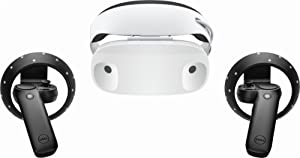 Dell - Visor Virtual Reality Headset and Controllers for Compatible Windows PCs (Color: White headset with black controls)