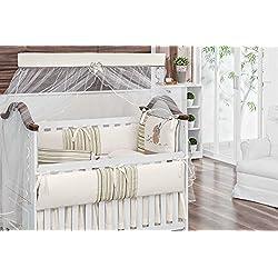 Bear Kite Themed Beige and Ivory Baby Boy 10 Pcs Nursery Crib Bedding Set Embroidered