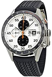 TAG Heuer Men's CAR2A12.FT6033 Carrera Chronograph McLaren Mercedes Calibre White Dial Automatic Black Watch