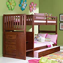 Big Sale Merlot Twin Twin Staircase Bunk with Trundle