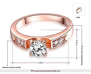 ROXI 18K Platitum / Rose Gold Plated Round Diamond Solitaire Engagement Ring for Women Best Gifts Idea (Available in Sizes 6 7 8) (8, Rose Gold) by ROXI