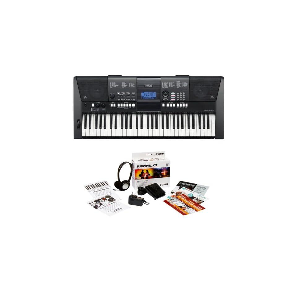 Yamaha PSR E423 Synth Focused 61 Key Portable Keyboard Bundle