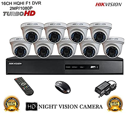 Hikvision-DS-7216HQHI-E2-16CH-Dvr,-9(DS-2CE56DOT-IRP)-Dome-Cameras-(With-Mouse,Remote)