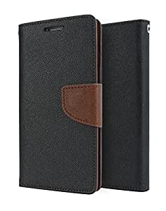 Relax And Shop Luxury Wallet Style Flip Cover For MicroMax Bolt Q335 - Black With Brown