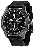 Military Watches Seiko Men's SNDA65 Stainless Steel Watch with Black Canvas Strap