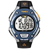 Timex T5E931 Men's Ironman 30-Lap Silver Resin Case Digital Dial Black Rubber Strap Chronograph Watch