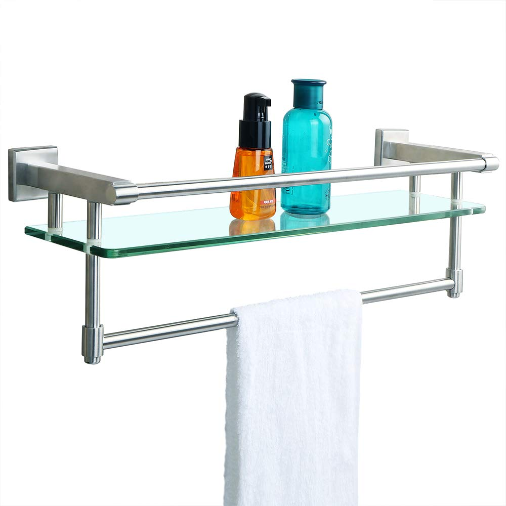 Alise Shower Glass Shelf SUS 304 Stainless Steel Bathroom Shelf with Towel Bar/Rail Wall Mount 21-Inch Length,Brushed Finish,GK9012