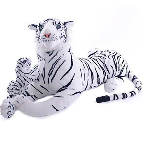 VERCART 43 inches Giant Realistic Stuffed Tiger Animals Soft Plush Toy White Tiger for Kids Birthday Gifts (with A Small Tiger) (How To Draw Winnie The Pooh compare prices)