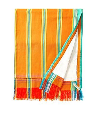 Nomadic Thread Sarong Towel, Orange/Turquoise Stripe