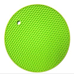KARP Round Shape Silica Gel Anti Hot Heat Resistant Pot Holder Disc Pads Car Dashboard Anti-Slip-resistant Pad Dining Table Mat Placemat Coasters - Green Color