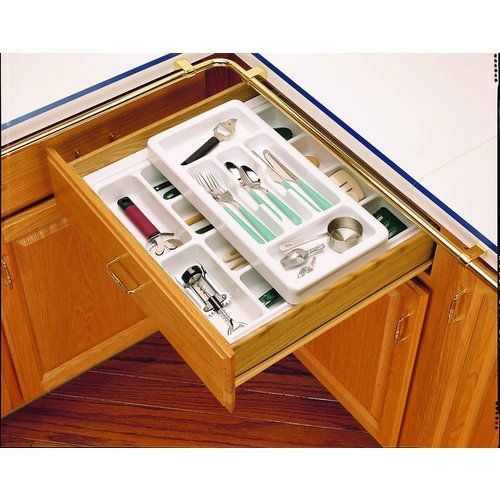 Rev-A-Shelf RT 18-3H Rolling Tray Series Shallow Cutlery Tray with Rolling Top H, Glossy White