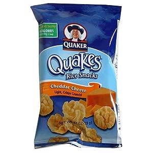 Quaker Quakes Rice Snacks, Cheddar Cheese, 0.67-Ounce Bags