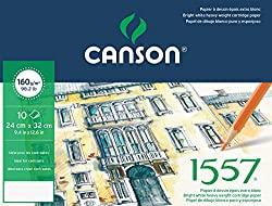 Canson Fine Arts Folder 24 x 32 cm Pure White Light Grain 160 GSM 1557 Drawing Paper (10 Sheets)