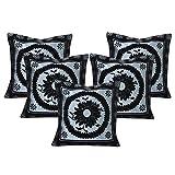 Royalina Black Polyester Flock Cushion Cover-Set Of 5