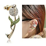 Ci Shop Ultra Sparkling Elegant Rose Earcuff Earrings Punk Syle Ear Wrap(Left Ear)