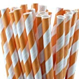 Paper Party Straws | 50 Ct (Orange)