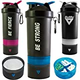 BeMo® Motivational Protein Shaker Bottle, Large 28-Ounce Shaker Cup with Protein Powder Storage Compartments, 100% Leak Proof, Motivational Logos, BPA Free (Blue, BE Strong) (Color: Blue, BE STRONG)