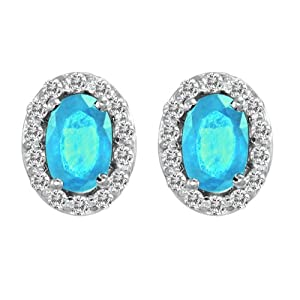 Platinum Round Diamond & Oval Blue Topaz Earrings (1 cttw, H-I, SI)
