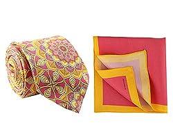 Chokore Fuschia & Orange Silk Tie and Pocket Square Set