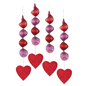 Red Hearts Hanging Decorations, 4ct