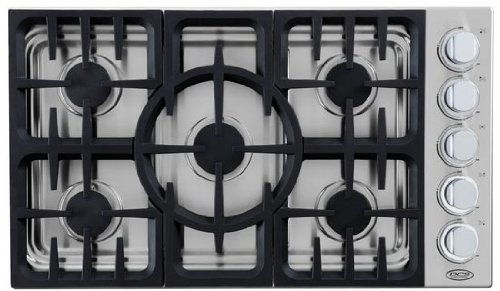 DCS CDU365L 36″ Gas Cooktop with 5 Sealed Dual Flow Burners, Continuous Grates and Stainless Steel Design: Liquid Propane